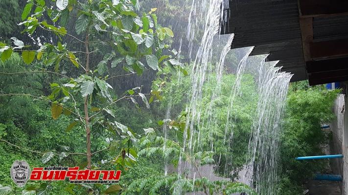 อำนาจเจริญ-ฝนตกตลอดทั้งวัน พ่อเมืองแจ้งระวังน้ำท่วมฉับพลันและน้ำป่าไหลหลาก